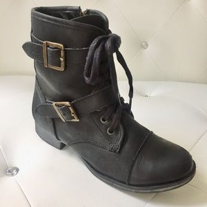 Dolce Vita Leather Moto-Combat Military-Style Boot